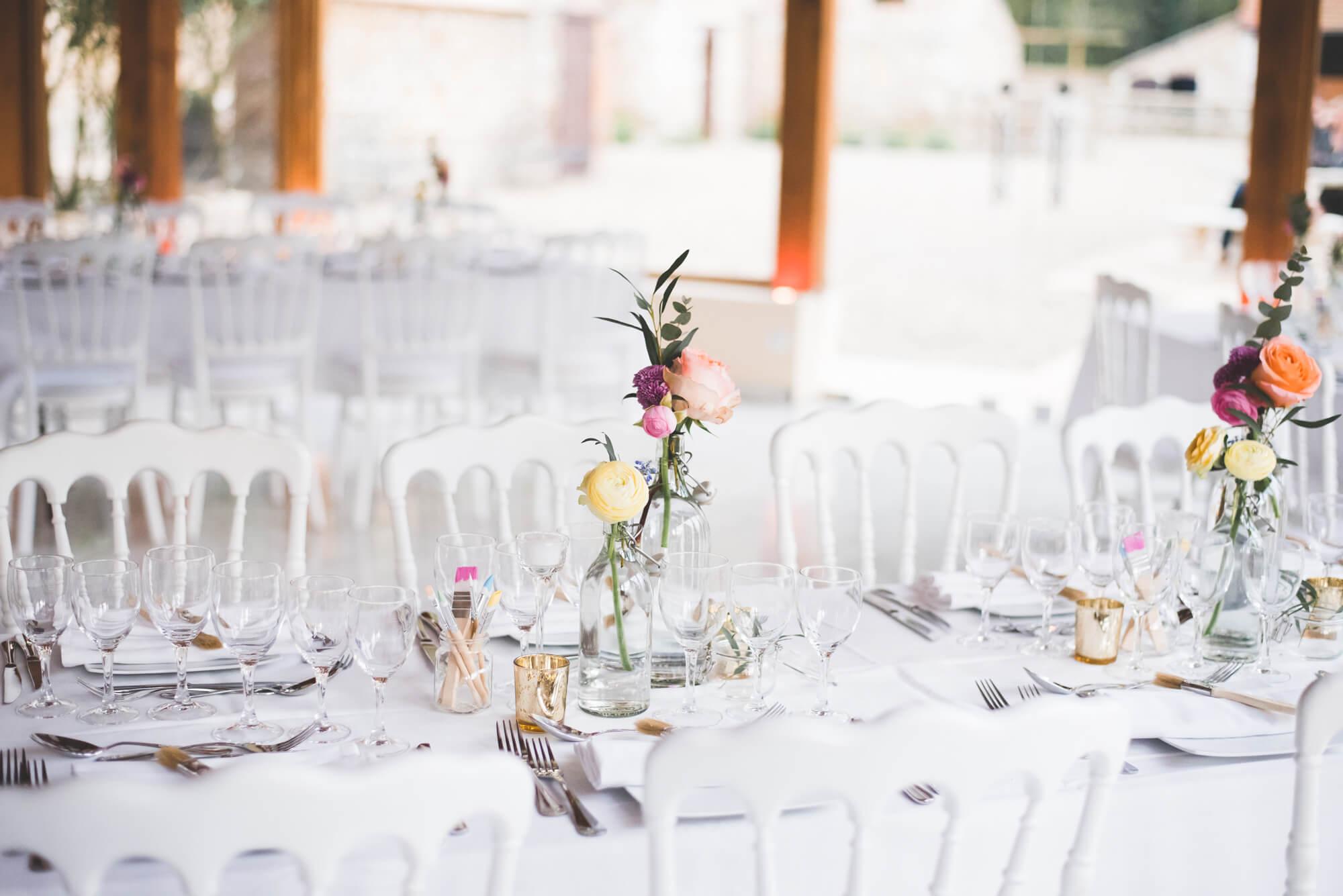 Table simple de mariage Empreinte Ephémère blanc