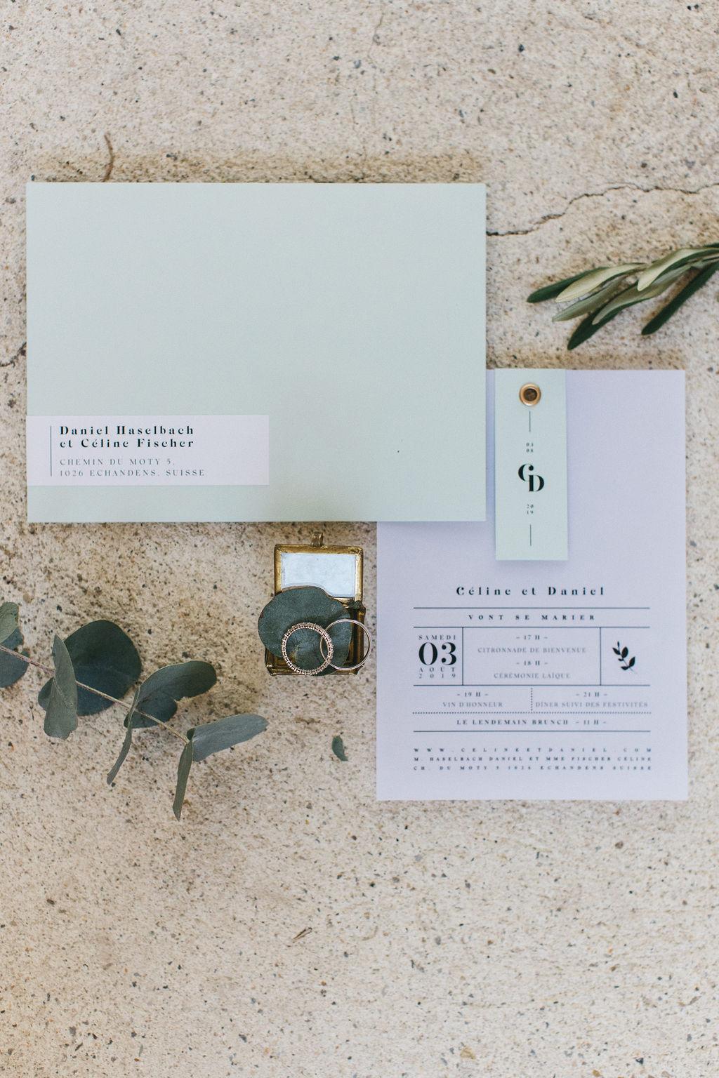 papeterie mariage moderne et faire part minimaliste. Empreinte Ephémère wedding planner Provence, paris et normandie et wedding designer