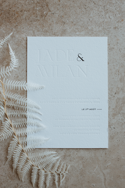 papeterie faire-part mariage moderne minimaliste vallon des glauges